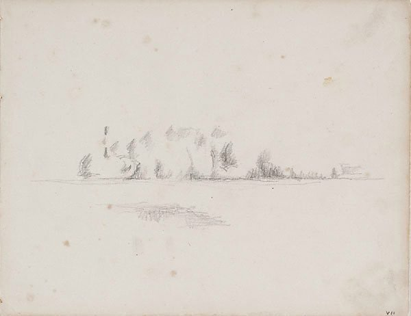 An image of recto: The banks of a river, verso: Study of a bather
