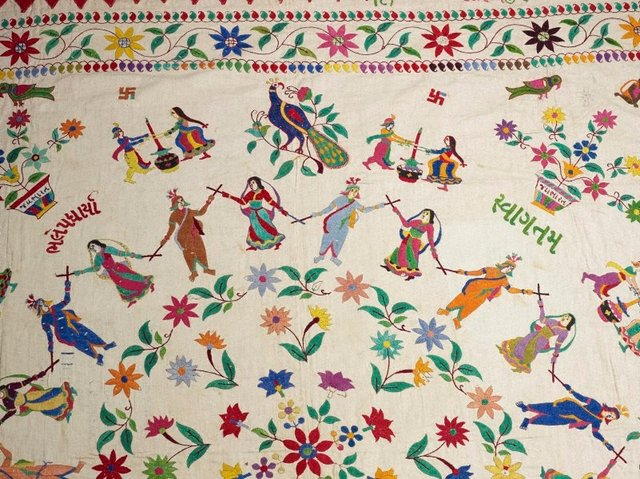 An image of Embroidered wedding canopy (or 'chakla') with design of circular dance