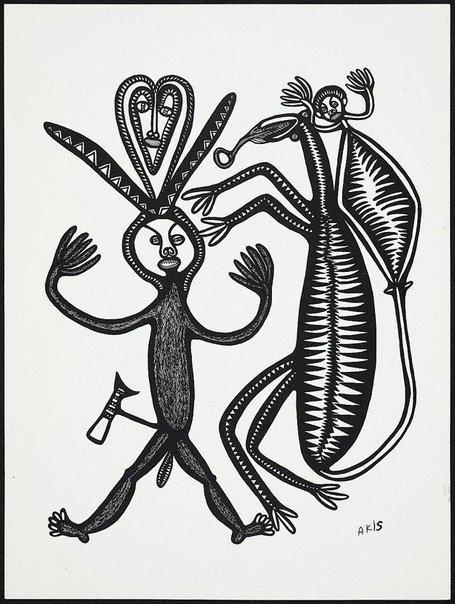An image of Man i bilas, na dok na devel tupela i paitim em by Akis