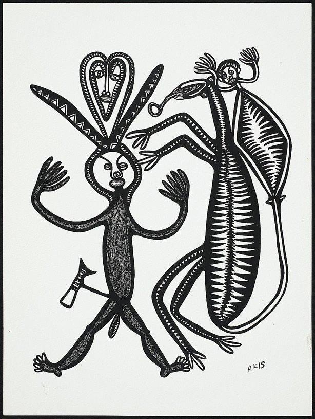 An image of Man i bilas, na dok na devel tupela i paitim em
