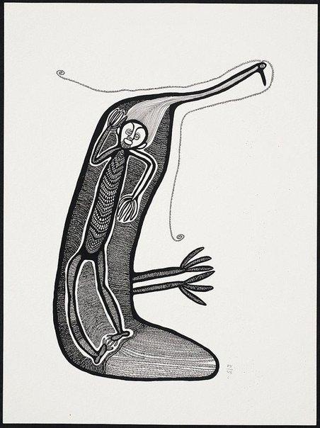 An image of Man i salut long han kais insait long bel bilong muruk by Akis