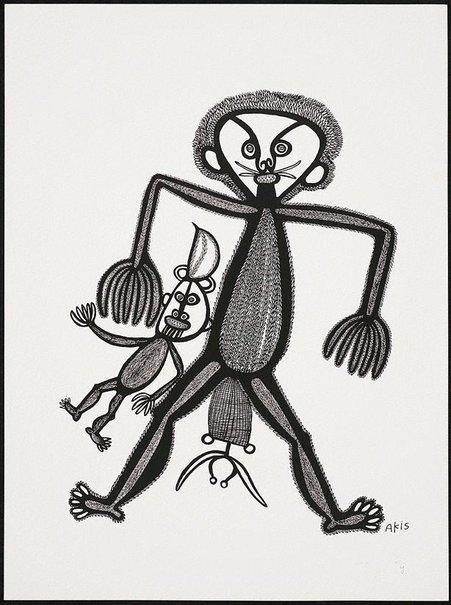 An image of Wanpela garas man wantaim pikinini bilong en by Akis