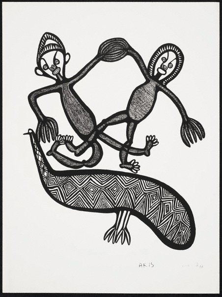 An image of Tupela man holim han na pilai antap long wanpela muruk by Akis