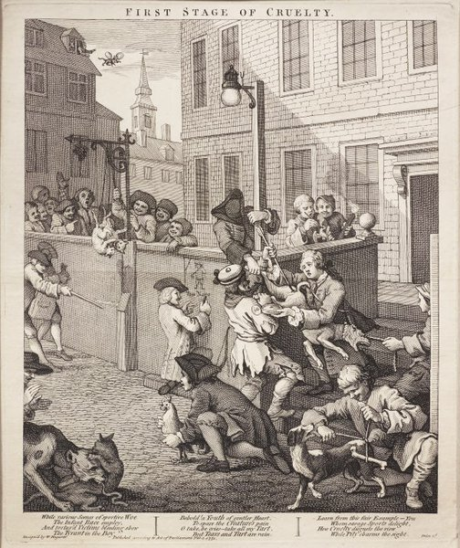 An image of The first stage of cruelty by William Hogarth