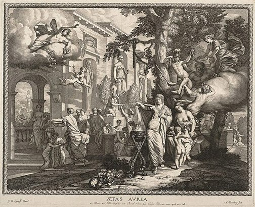 An image of The golden age by Abraham Blooteling, after Gerard de Lairesse