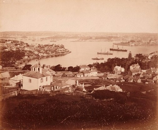An image of Lower North Shore, Sydney Harbour from Holtermann tower by Charles Bayliss