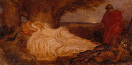 An image of Colour study for 'Cymon and Iphigenia' by Frederic, Lord Leighton