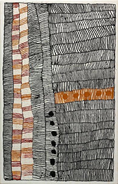 An image of Pwoja - Pukumani body paint design by Taracarijimo Freda Warlapinni