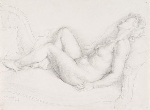 An image of Figure on a chaise longue by Dorothy Thornhill
