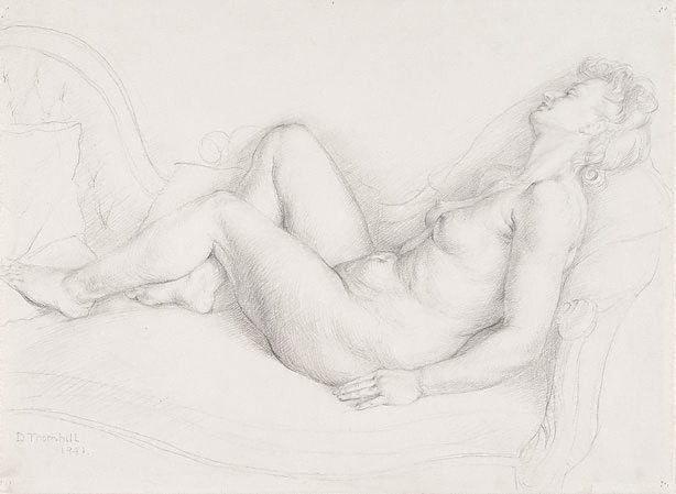 An image of Figure on a chaise longue