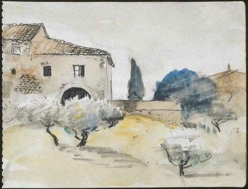 An image of Tuscan farmhouse, San Gimignano by Lloyd Rees