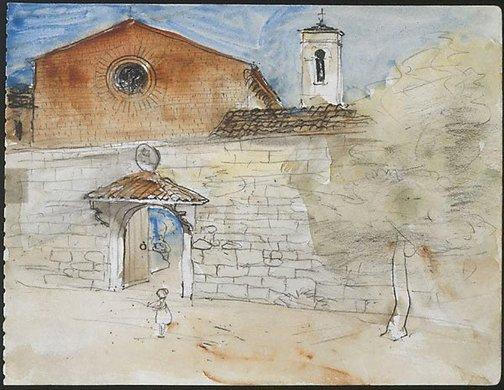 An image of Sant' Agostino, San Gimignano by Lloyd Rees
