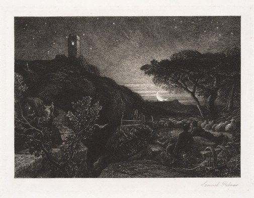 An image of The lonely tower by Samuel Palmer