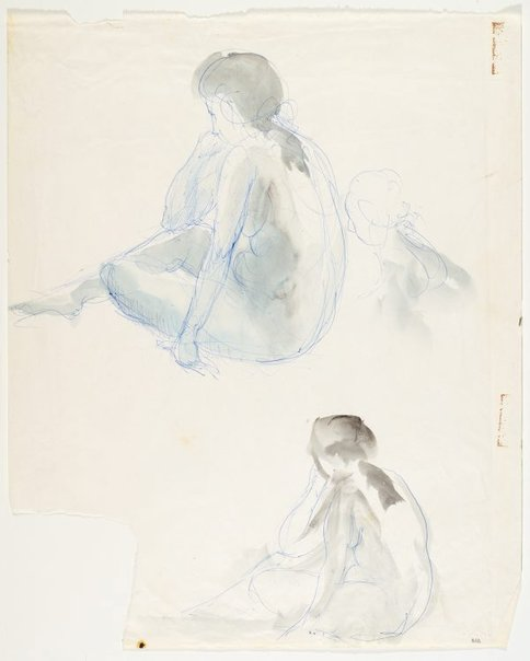An image of Seated female nude (twice) by Lloyd Rees