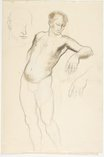 An image of recto: Harbour landscape and Male nude, back view and Foot verso: Head study, Leaning male nude; Hand and Male nude, back view by Lloyd Rees