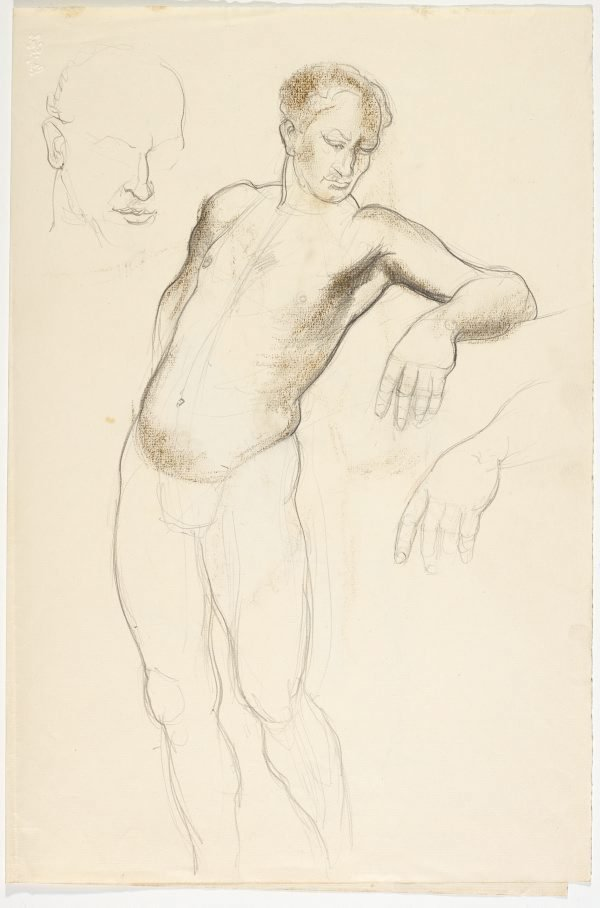 An image of recto: Harbour landscape and Male nude, back view and Foot verso: Head study, Leaning male nude; Hand and Male nude, back view