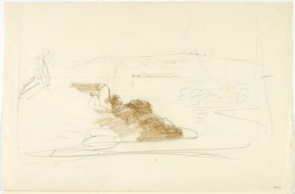 Alternate image of recto: Harbour landscape and Male nude, back view and Foot verso: Head study, Leaning male nude; Hand and Male nude, back view by Lloyd Rees