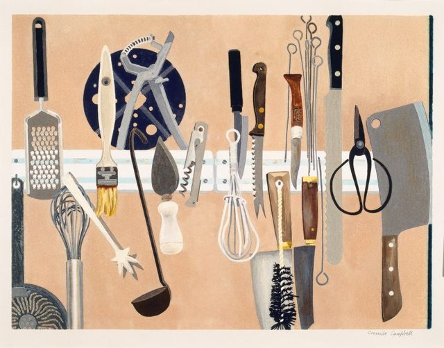 Kitchen utensils, (1993) by Cressida Campbell