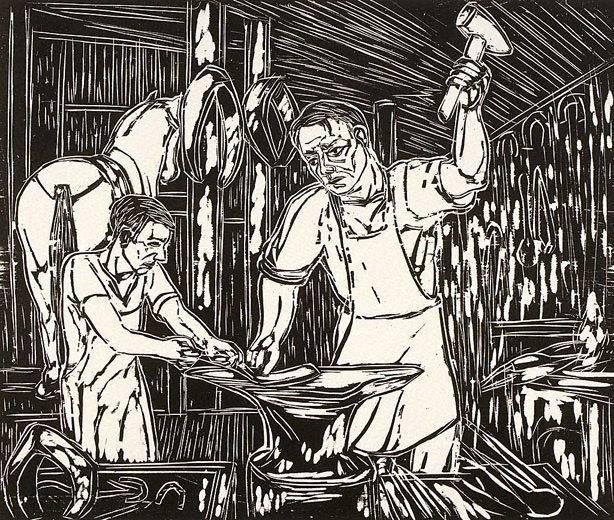 An image of Men repair machinery
