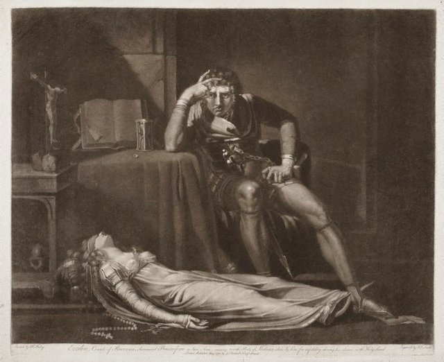 An image of Ezzelin musing over the body of his wife Meduna, slain by him for her  infidelity during his absence in the Crusades