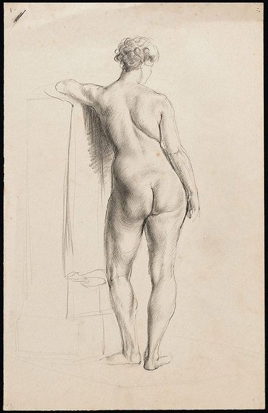 An image of Standing female nude viewed from behind, leaning on a pillar, London by Nora Heysen