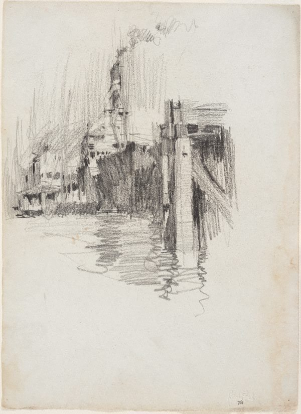 An image of recto: Ship at wharf, Brisbane River verso: Study from a plaster cast