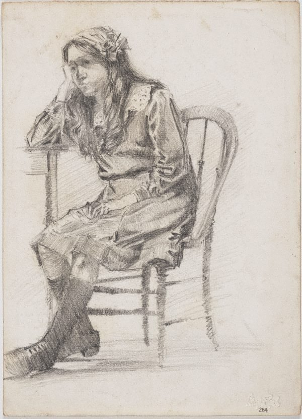 An image of recto: Seated girl verso: Head of Angèle Rees