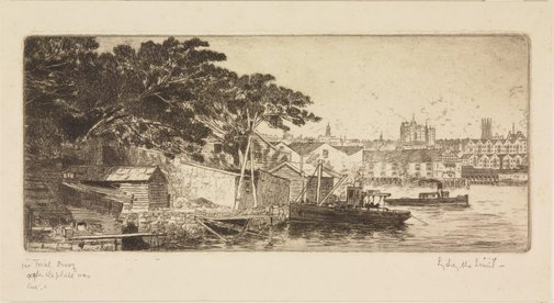An image of Darling Harbour from Balmain by Sydney Ure Smith