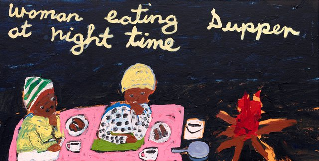 An image of Women Eating Supper at Night Time