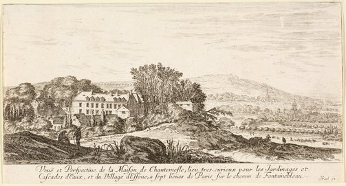 An image of The House of Chantemesle and the village of Essone by Israel Silvestre