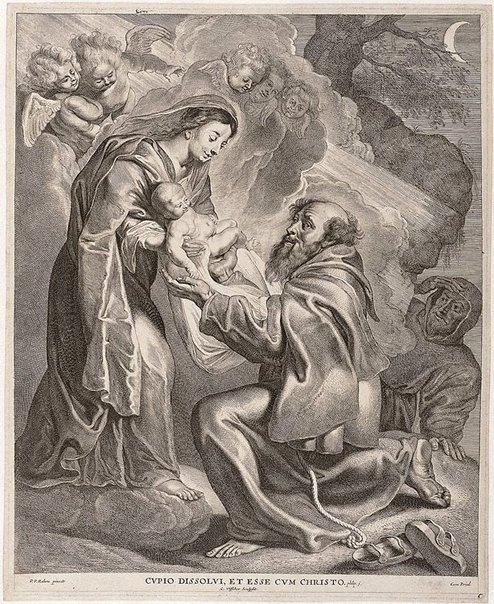 An image of The vision of Saint Francis by Cornelis Visscher, after Sir Peter Paul Rubens