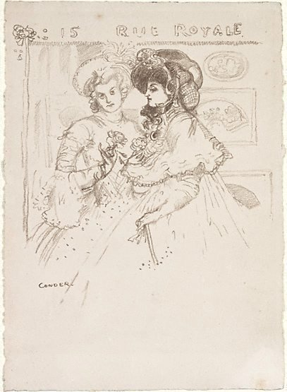 An image of Invitation card to an exhibition at 15 Rue Royale, Paris by Charles Conder