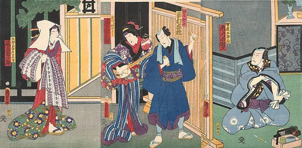 An image of Scene in the pleasure quarters with geisha playing the samisen