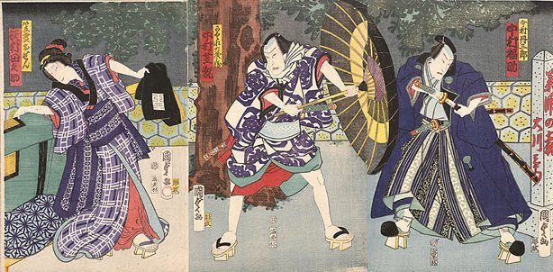 An image of Night scene: two men, one holding an umbrella, confront each other beneath a large tree as a woman standing by a palanquin looks on