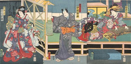 An image of Scene from the kabuki play 'Koi goromo Karigane zome' by Utagawa Kunisada