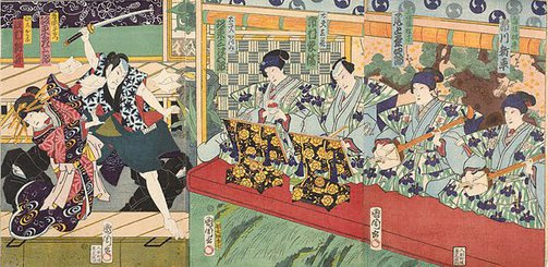 An image of Four musicians accompanying two puppets from 'joruri' theatre, operated by two veiled puppeteers by Toyohara KUNICHIKA
