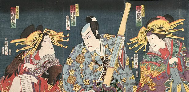 An image of Three half-length figures, a man with two courtesans dressed in kimono with designs of dragon and hawk respectively