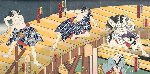 An image of Four men fighting on and under stage by Utagawa YOSHICHIKA