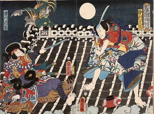 An image of Two warriors fight on a rooftop at night time