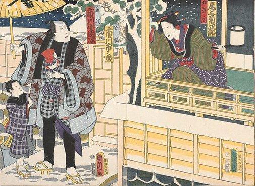 An image of Onoe Kikujirô II as Okin, Ichikawa Ichinosuke as Tamamatsu and Ichikawa Kodanji IV as Tôji in 'Sandai Banashi Kôza no Shinsaku or Chô Chidori Suma no Kumiuchi' by Toyohara Kunichika