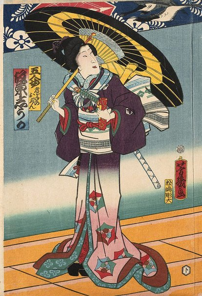 An image of Actor Bando Shuka holding umbrella by Utagawa YOSHICHIKA