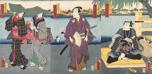 An image of Scene by a river bank with a sandalmaker, samurai and two geisha