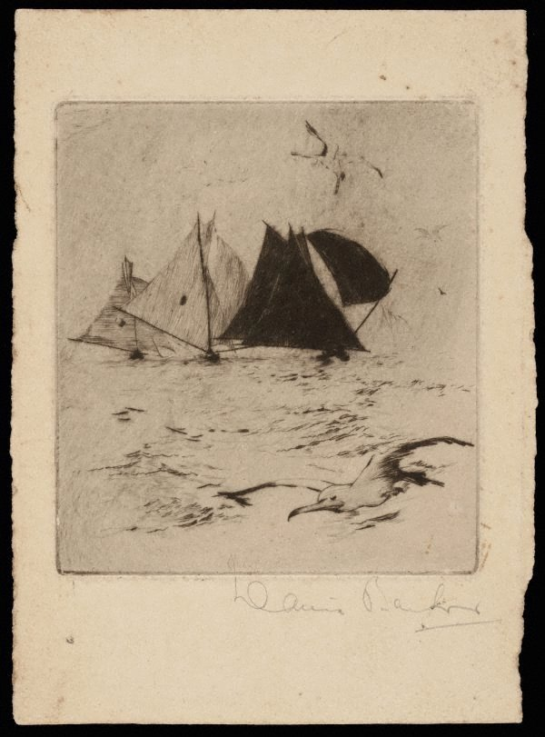 An image of (Untitled - Sailing ships and seagull)