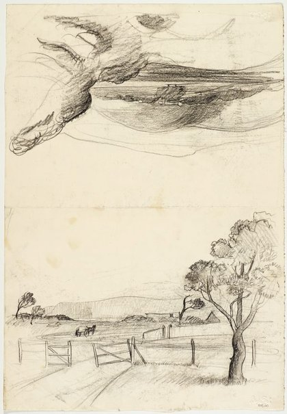 An image of recto: Sketch, Gerringong with horse and cart and Landscape with rounded hills, South Coast verso: Fallen rocks and Landscape sketch by Lloyd Rees