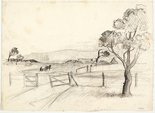 Alternate image of recto: Sketch, Gerringong with horse and cart and Landscape with rounded hills, South Coast verso: Fallen rocks and Landscape sketch by Lloyd Rees