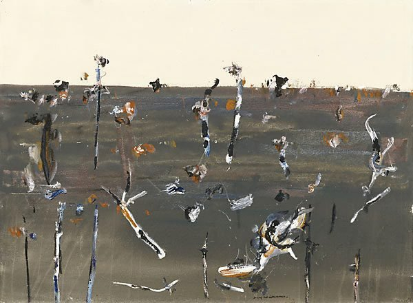 AGNSW collection Fred Williams Burnt landscape, Upwey no 1 1968