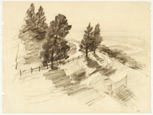 An image of Bend of a country road and shed with watertank by Lloyd Rees
