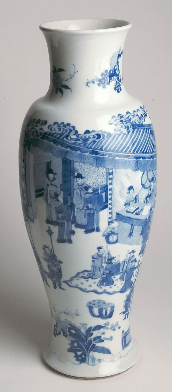 An image of Vase decorated with scene of scholars