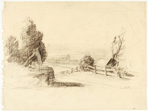 An image of Country road with fence and house by Lloyd Rees