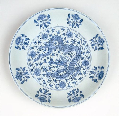 An image of Plate with dragon-among-flowers design by